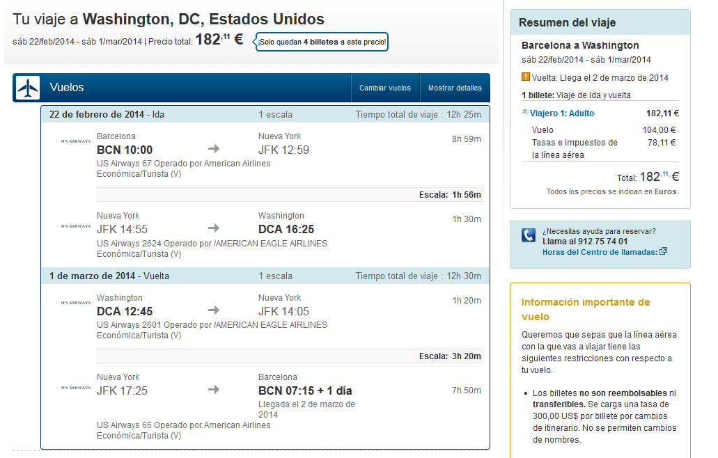 Vuelo low cost Washington
