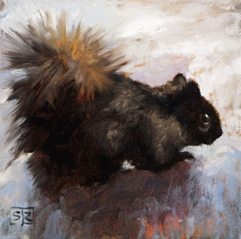 painting of black eastern grey squirrel, oil on canvas, Shannon Reynolds