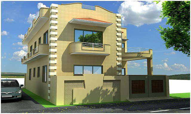 10 marla 5 plan beautiful front elevation of home design for Home design 5 marla corner