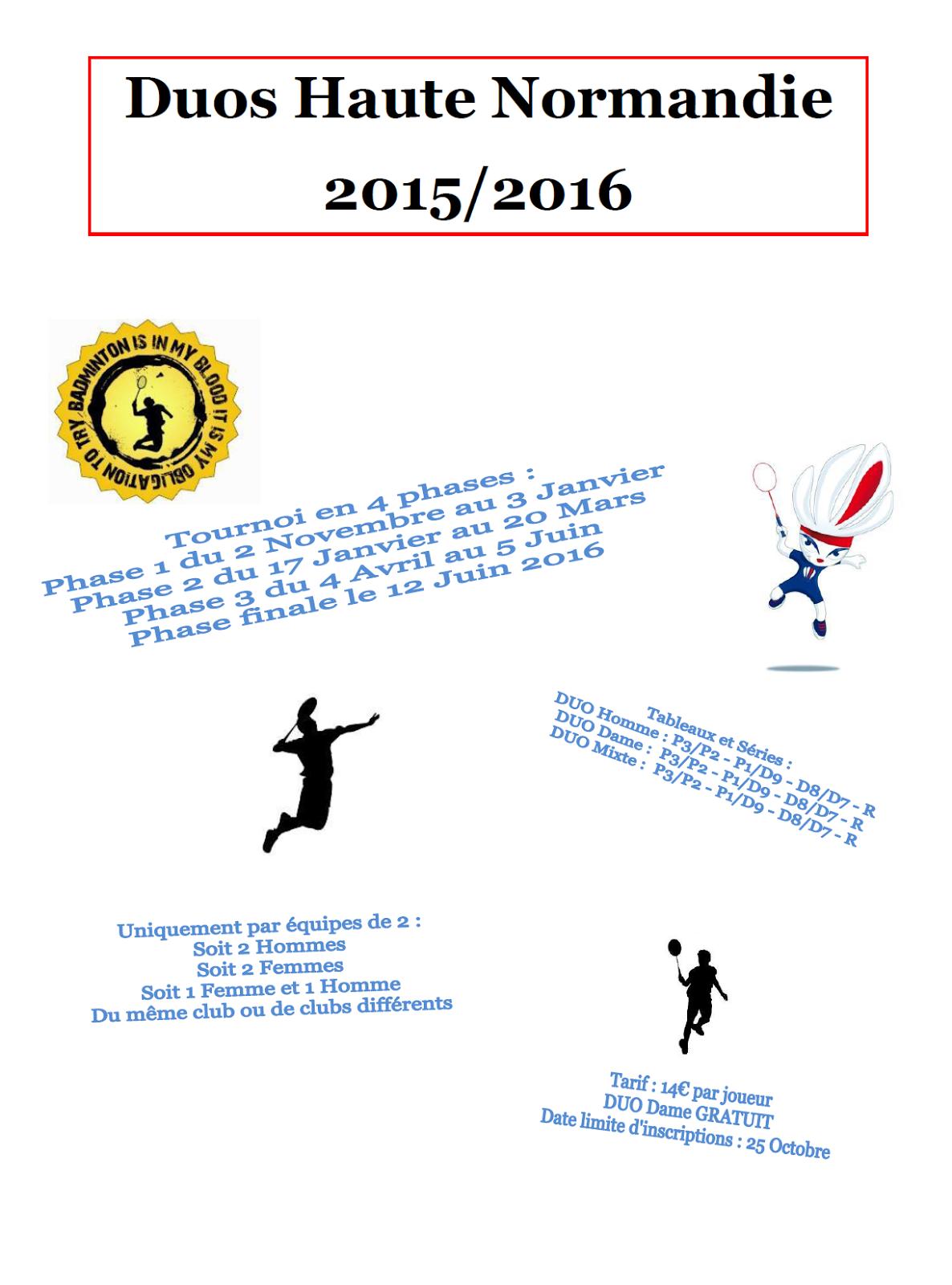 Ligue de haute normandie de badminton duos de haute for 3 haute normandie