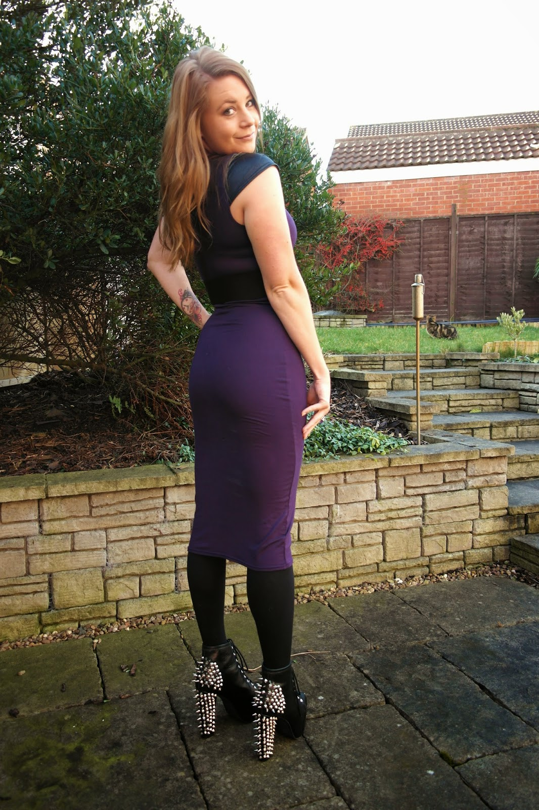 dark purple midi dress