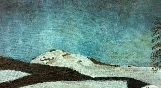 snow mountain oil painting
