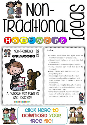 Non Traditional Homework Ideas including everything in a free handout
