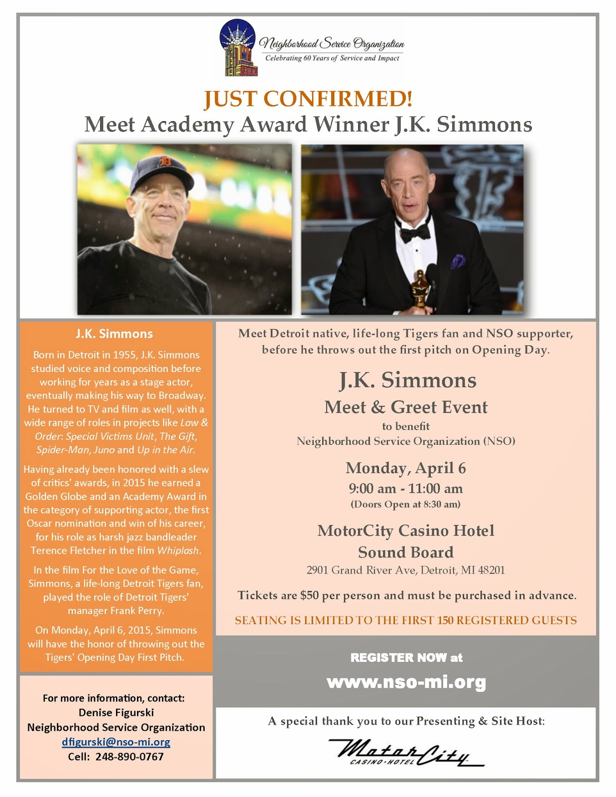 Detroit J K Simmons Benefit Meet And Greet Mon 4 6 At