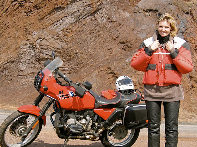 Sister Kim on her BMW R 100 GS.  North side of Golden Gate bridge in San Francisco