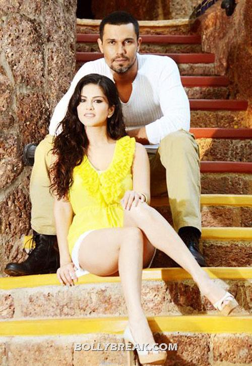 sunny leone in white hot shorts with randeep  - Sunny Leone Jism 2 Latest Still in yellow top white shorts