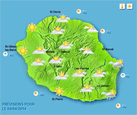 Prévisions météo Réunion pour le Vendredi 04/04/14