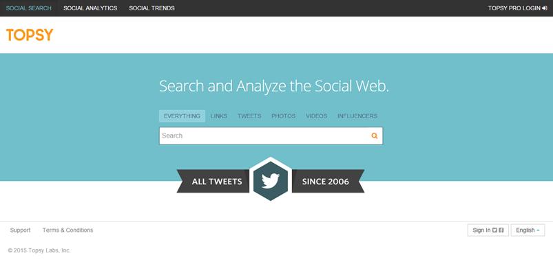 Topsy - social media tool
