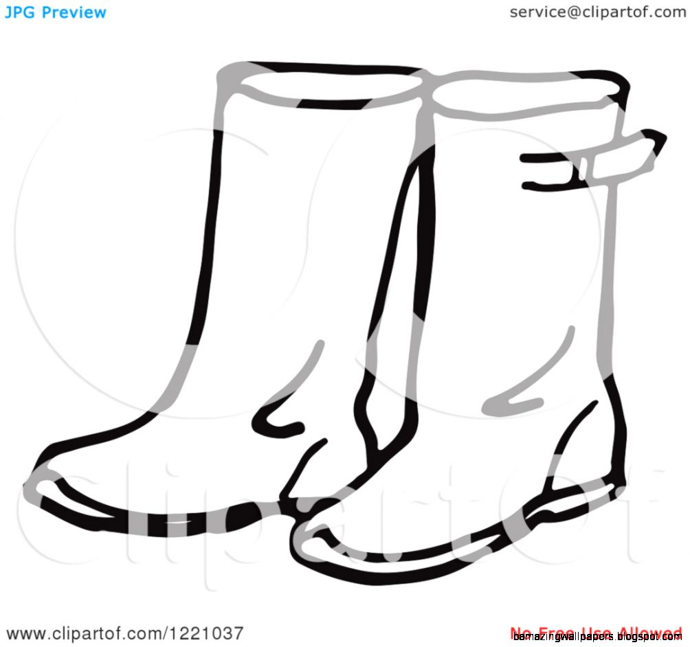 Clipart of a Black and White Pair of Rain Boots   Royalty Free