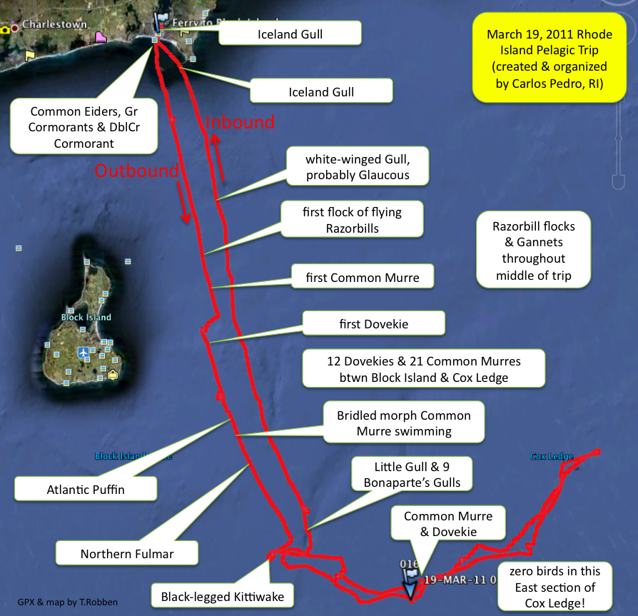 Overview map of our March 19, 2011 pelagic trip.