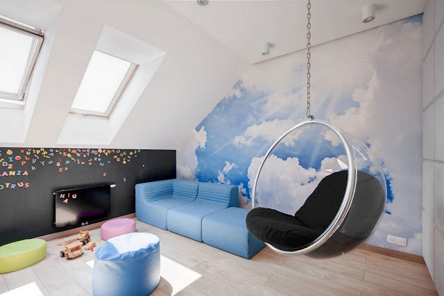 beautiful hanging chair for bedroom with glass material and blue sofa