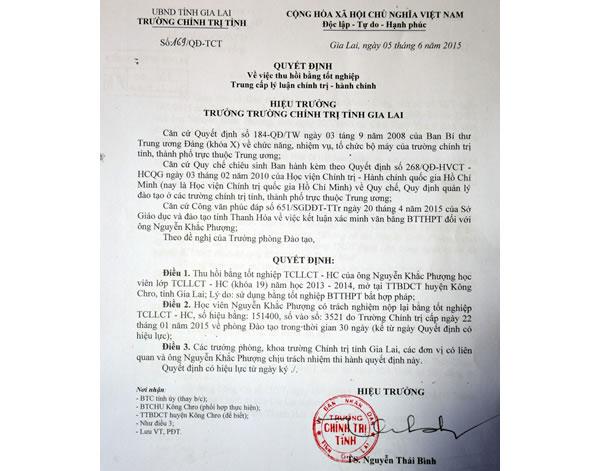 Gia Lai: Vụ Phó hiệu trưởng không có bằng cấp III - Thu hồi bằng tốt nghiệp Trung cấp lý luận chính trị