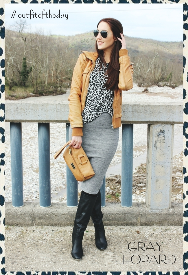 Outfit of the day: Gray leopard print.Bershka leather jacket.Pandemonium gray wool  skirt.Tally Weijl leopard top.Les secrets de Vanessa boots.H&M sunglasses. Spring outfit ideas.Outfit ideje za prolece.