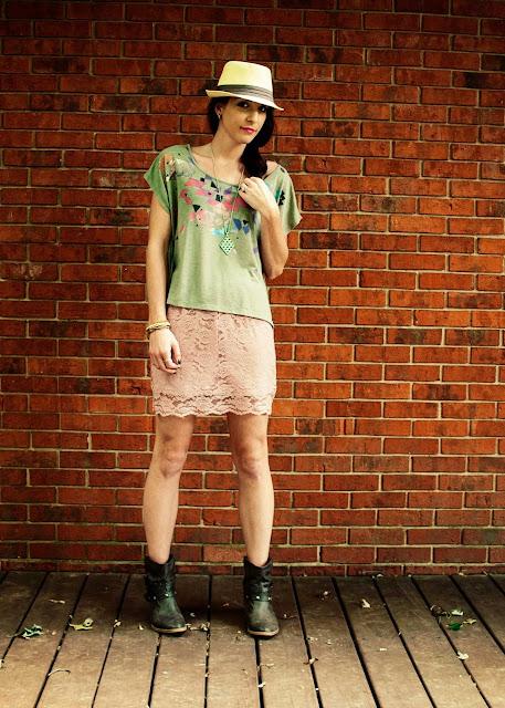 Lace skirt, ankle boots, fringe shirt, fedora