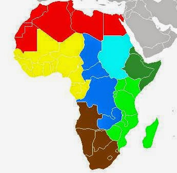 Beautiful solid color printable Africa map for teachers and geography students.