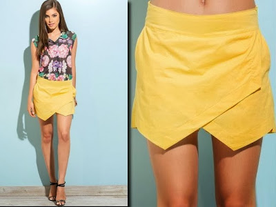 Short-saia assimétrico amarelo