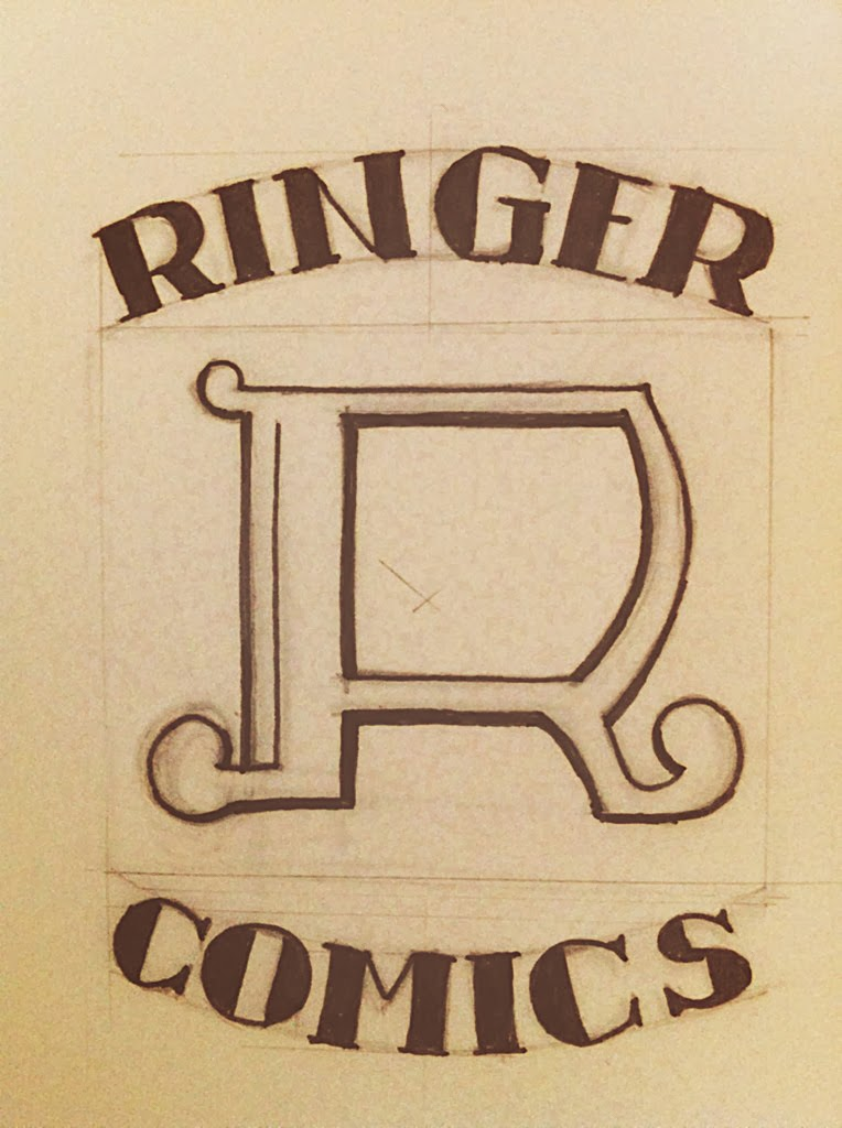 Ringer Publishing - Ringer Comics logo concept sketch 1960's style - Curio & Co. www.curioandco.com - Design by Cesare Asaro