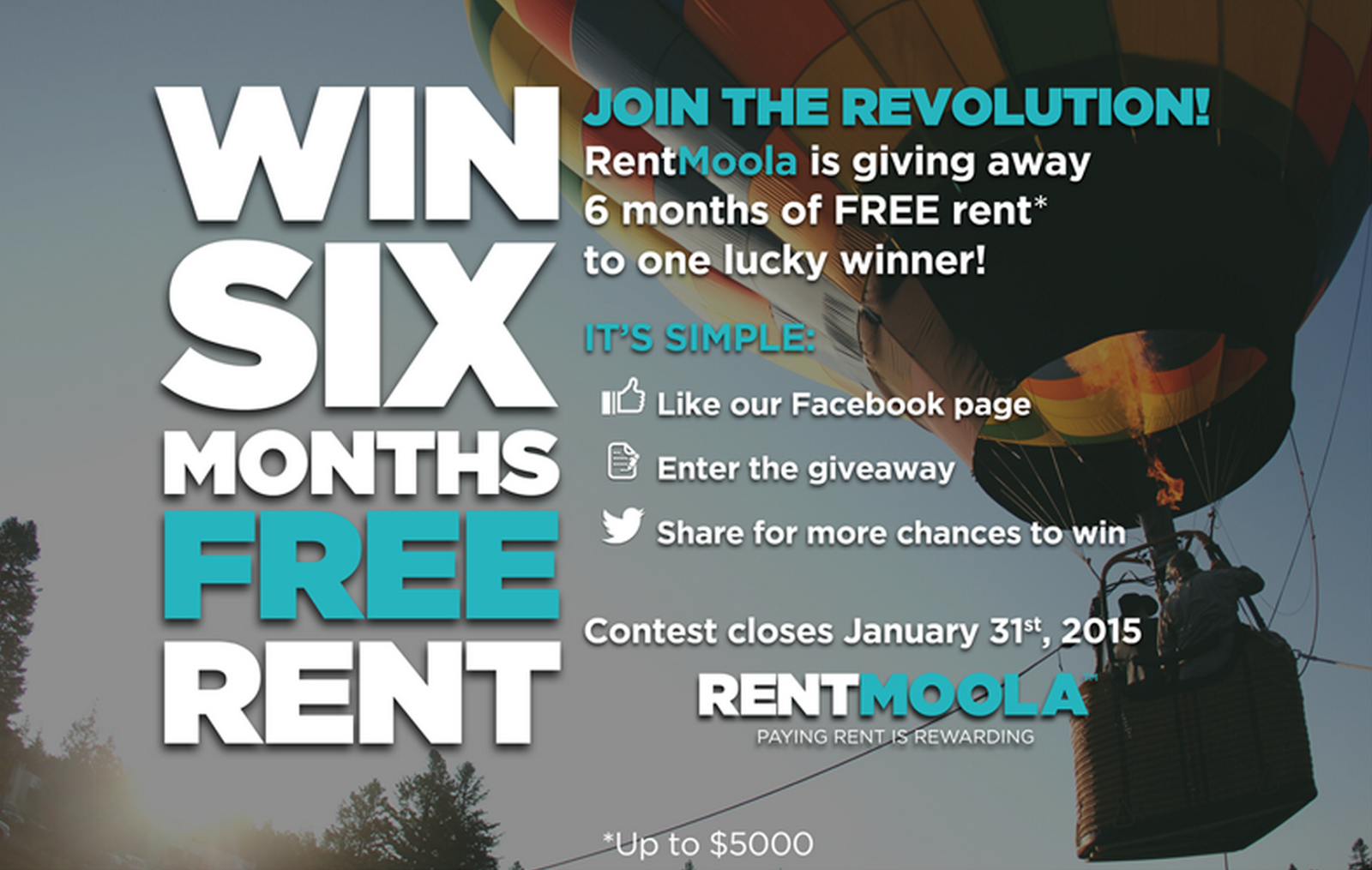 image 2015 January USA Giveaway -Enter to Win 6 Months Free Rent - Rent Moolah