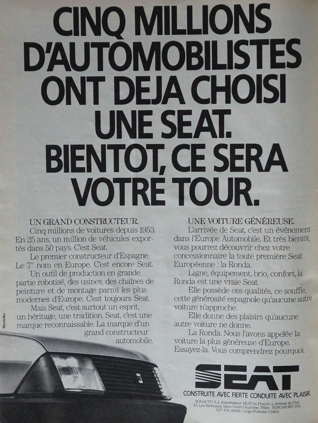 1983 Seat arrive en France