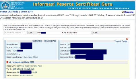 Mapel UKG , T U K, Gelombang, dan Status Verifikasi.