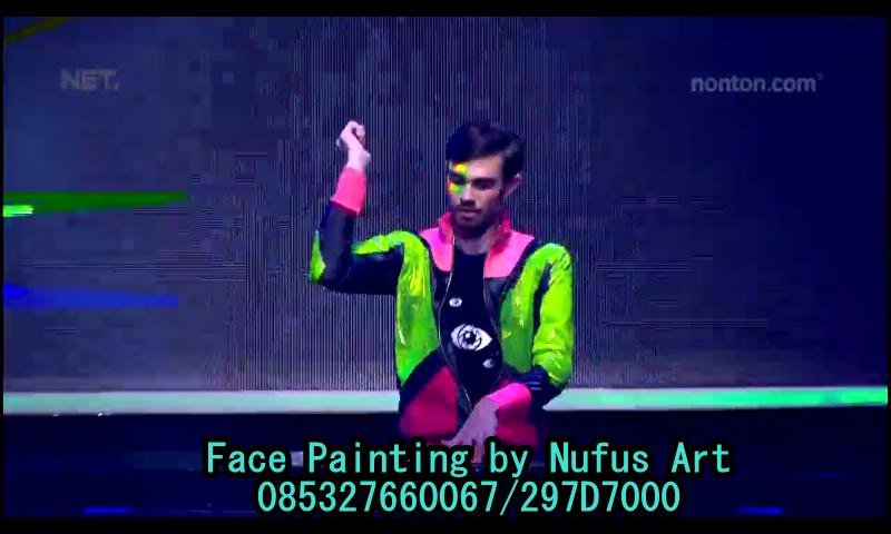 Face painting glow in the dark Denada & DJ Jesse di Acara