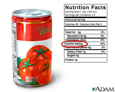 This 5 5 ounce can of tomato juice has 520 mg of sodium which is a