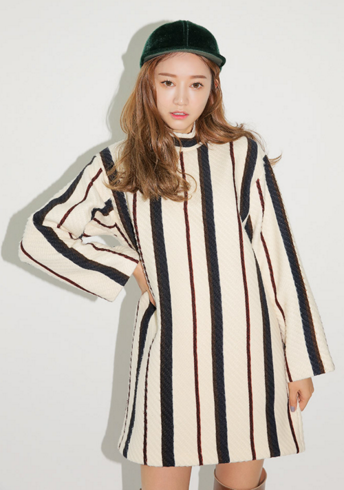 Striped High Neck Long Sleeve Dress