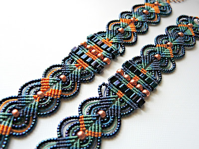 Micro macrame bracelets in blue and orange by Sherri Stokey.