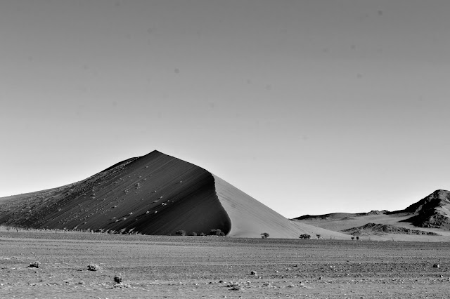 Black and white image of a dune in Sossusvlei