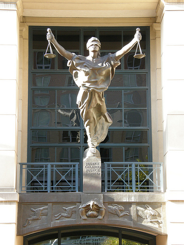 "Albert V. Bryan Courthouse statue of ""Justice"""