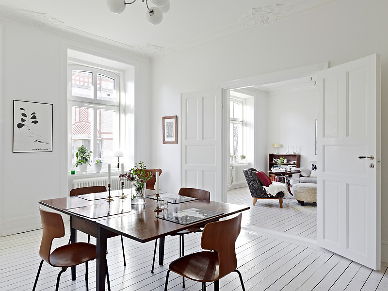 white wood floors dining room wood chairs square table