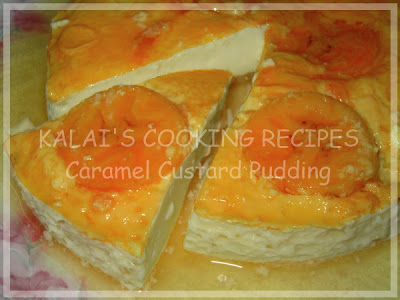 Steamed Simple Caramel Custard Pudding with Red Banana