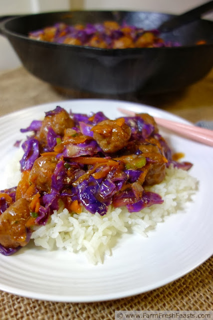 Orange Teriyaki Slaw Stir Fry with Orange Sriracha Turkey Meatballs | Farm Fresh Feasts