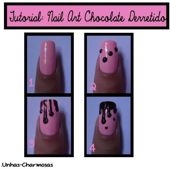 Tutorial nail art de chocolate derretido, tutorial de nail art de páscoa, tutorial unha de páscoa