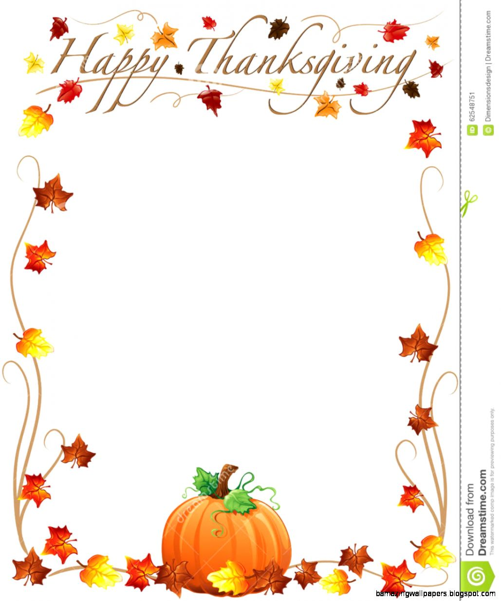 Happy Thanksgiving Border Stock Vector   Image 62548751