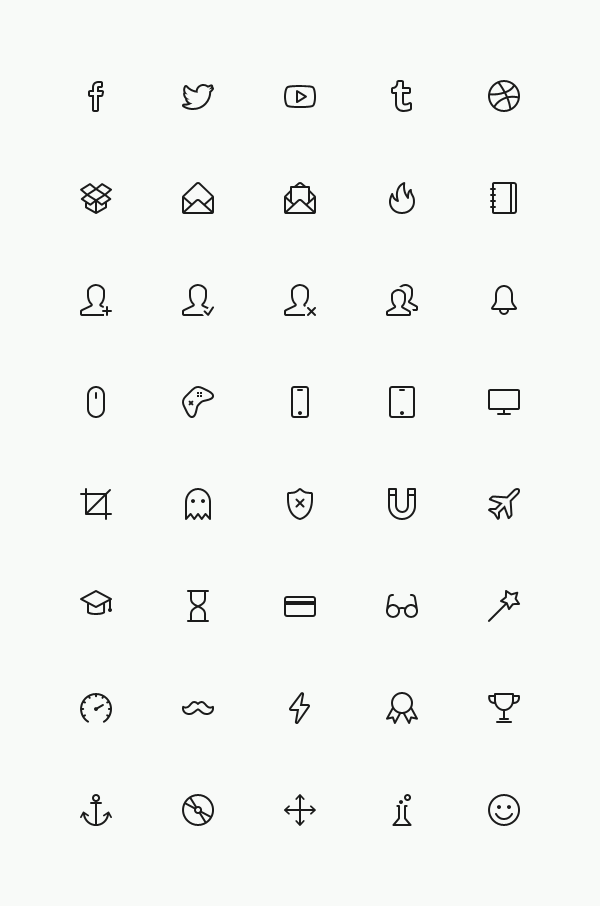 Small fine line icons psd material