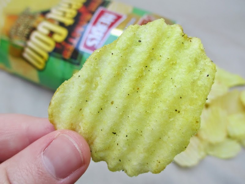 Herr's Fire Roasted Sweet Corn Flavored Potato Chips Closeup