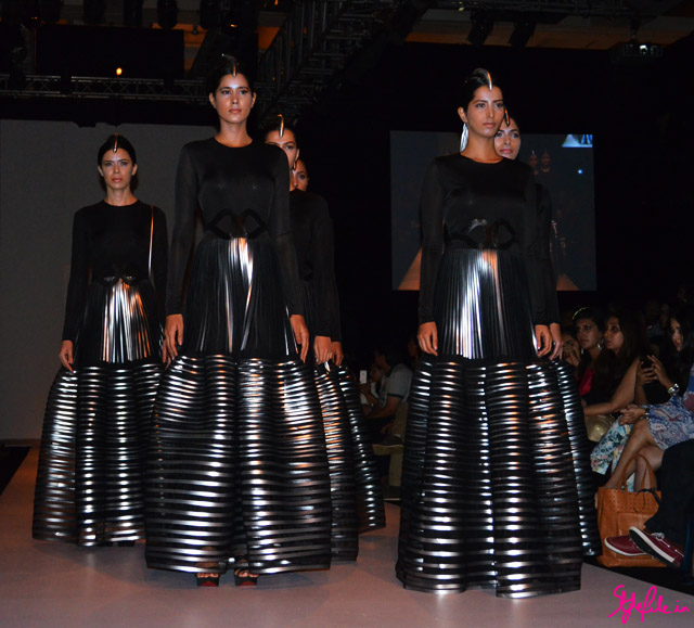 moulding metallics gown beadwork sheer for amit aggarwal at lakme fashion week 2013