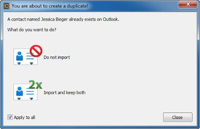outlook duplicate contacts