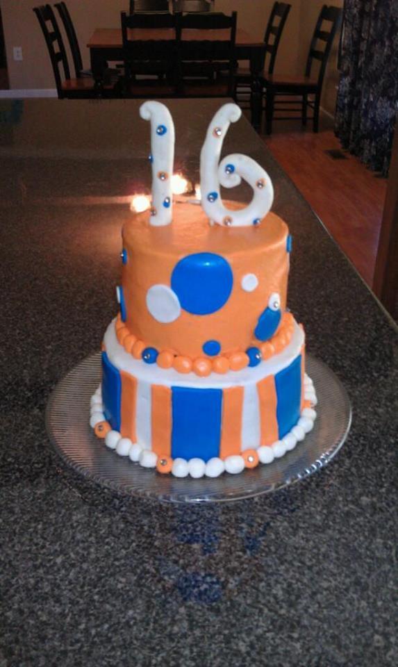 Cakes By Katie Wagoner Blue And Orange 16th Birthday Cake