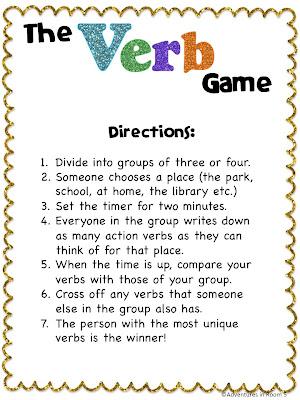 Adventures in Room 5: Verbs! Verbs! Verbs!
