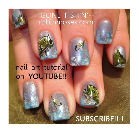 """Robin Moses Nail Art: """"fish Nails"""" """"short Butterfly Nails"""