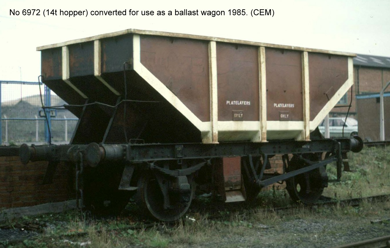 Wagon 6972 Converted To Ballast Hopper With Side Chutes In Follonsby Yard  1968.