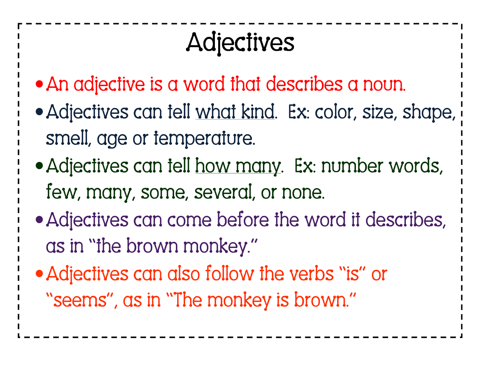 Adjectives Vocabulary Word List - Enchanted Learning