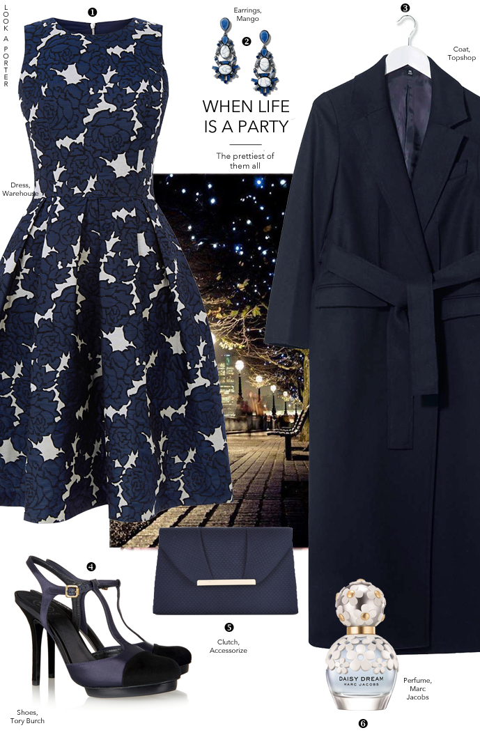 Navy, jacquard and the prettiest dress out there. Via www.look-a-porter.com style & fashion blog