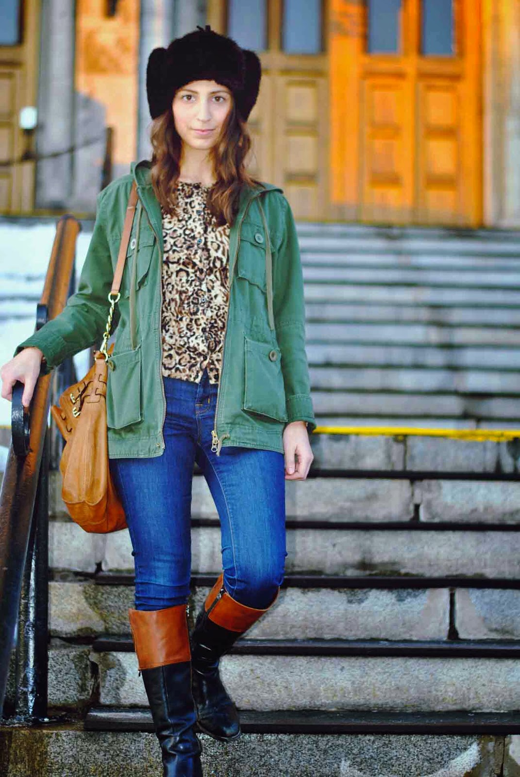 fur hat army green jacket leopard cardigan riding boots