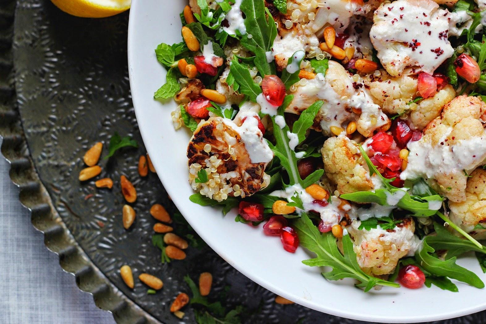 Roasted Cauliflower and Quinoa Salad with Sumac, Lemon + Tahini ⎮ happy hearted kitchen