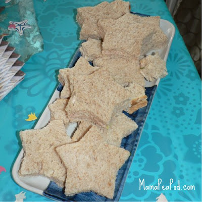 mermaid party food starfish sandwiches