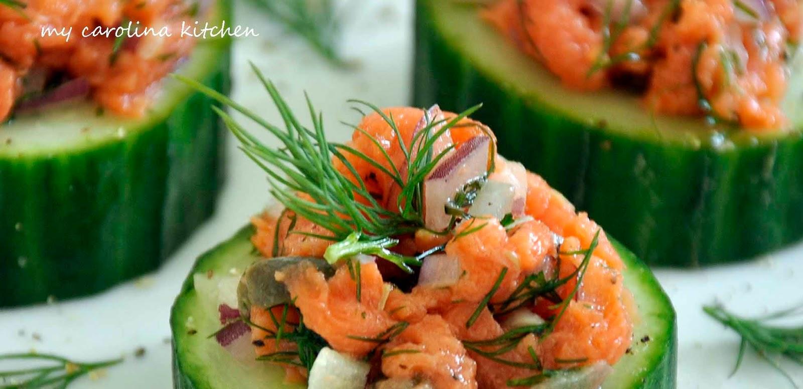 My Carolina Kitchen: Smoked Salmon on Cucumbers – featuring two ...