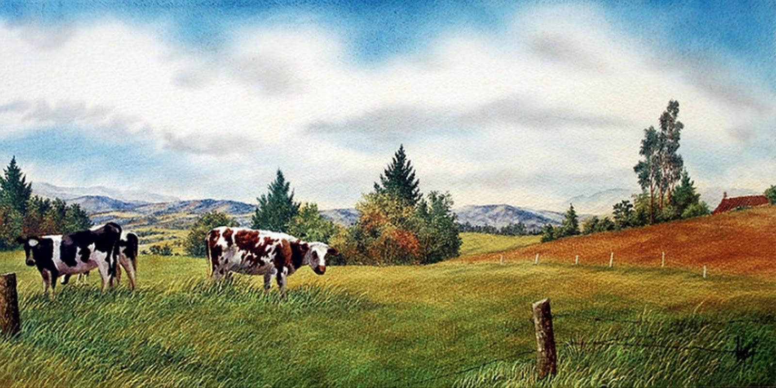 Paisajes de campo imagui - Cuadros de vacas ...